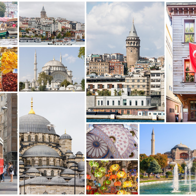 """""""Travel images collage of Istanbul,"""" stock image"""