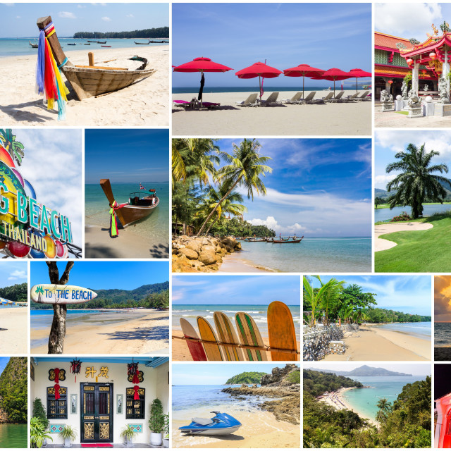 """""""Travel images collage of Phuket,"""" stock image"""