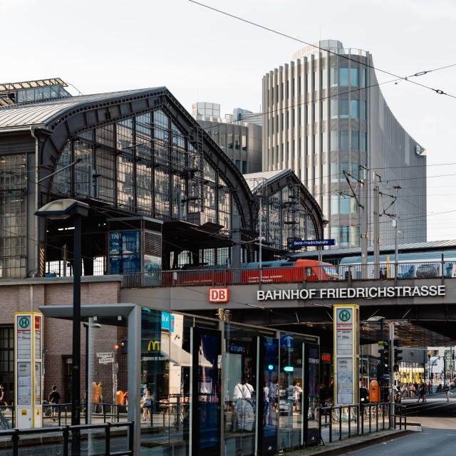 """Scenic view of Friedrichstrasse street in Berlin with Friedrichstrasse railway station"" stock image"