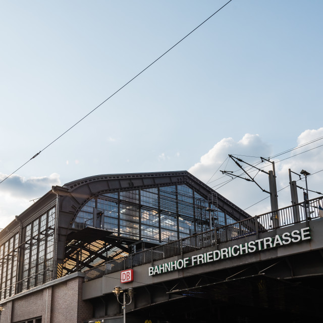 """""""Low angle view of Friedrichstrasse railway station in Berlin"""" stock image"""