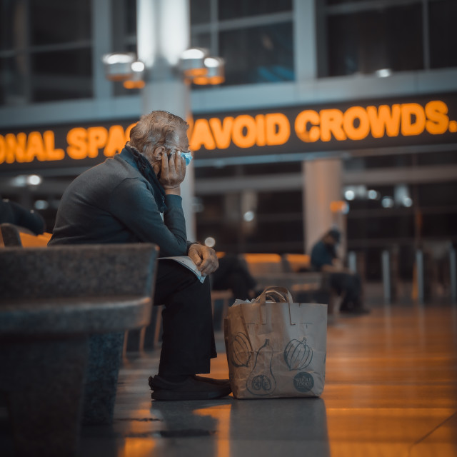 """""""Avoid crowds. If you can."""" stock image"""