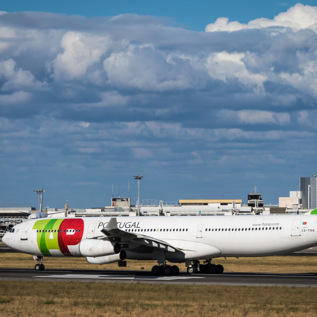 """Airliner Airbus A340 CS-TOA of TAP Air Portugal"" stock image"