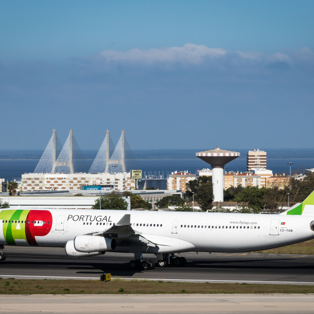 """Airliner Airbus A340 CS-TOB of TAP Air Portugal"" stock image"