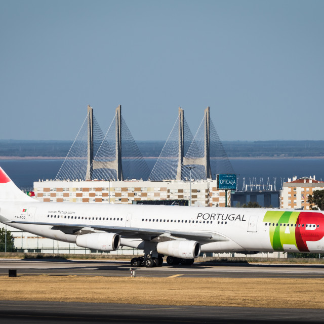 """Airliner Airbus A340 CS-TOD of TAP Air Portugal taxying"" stock image"