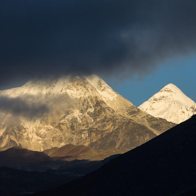 """Cloudy Island Peak and clear Cho Polu"" stock image"