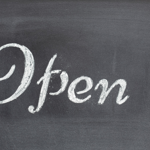 """Blackboard with the word Open"" stock image"