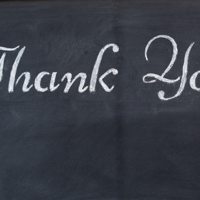 """Blackboard with the word Thank you"" stock image"