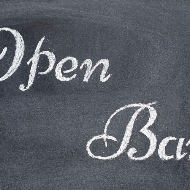 """Blackboard with the word Open Bar"" stock image"