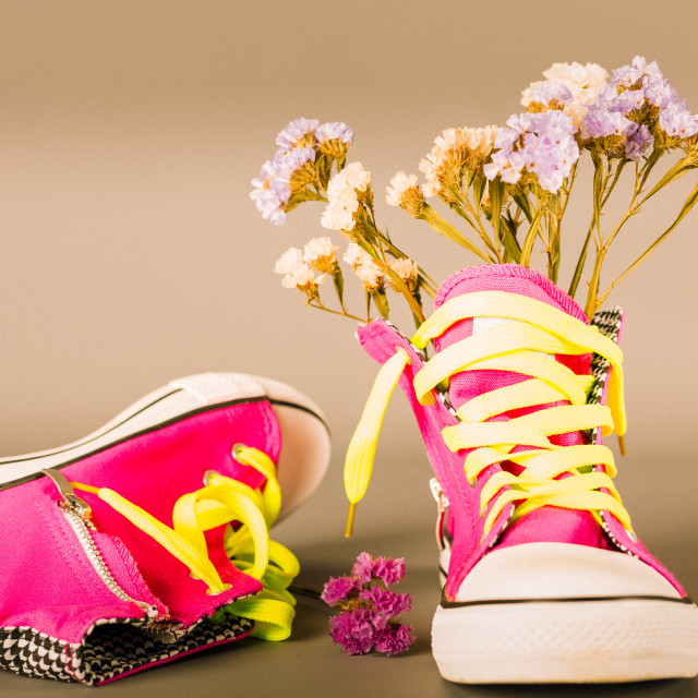 """Sports shoes with flowers"" stock image"
