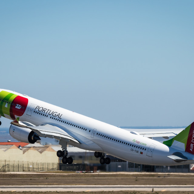 """Airliner Airbus A330 CS-TUE of TAP Air Portugal taking off"" stock image"