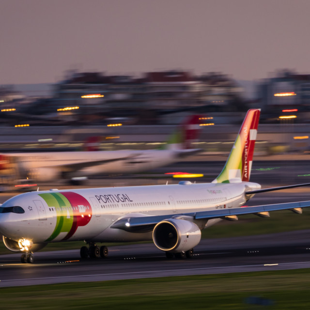 """Airliner Airbus A330 CS-TUJ of TAP Air Portugal taking off"" stock image"