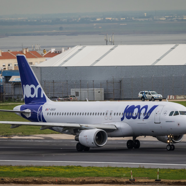 """Airliner Airbus A320 F-GKXV of French company Joon about to take off"" stock image"