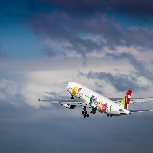 """Airliner Airbus A330 CS-TOW of TAP Air Portugal taking off"" stock image"