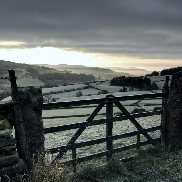 """Frosty Derbyshire dawn"" stock image"