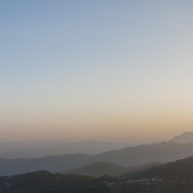 """A Misty Sunrise"" stock image"