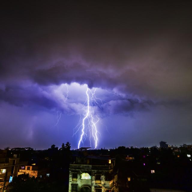 """Approaching storm, Kolkata, West Bengal"" stock image"