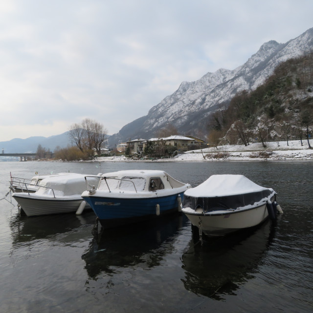 """Boats at Lake Como in Winter"" stock image"
