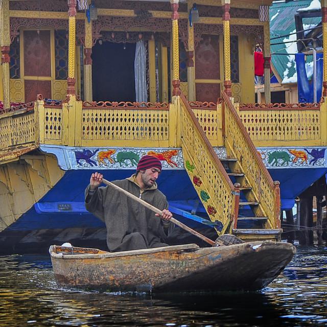"""""""A House Boat Owner at Dal Lake, Srinagar"""" stock image"""
