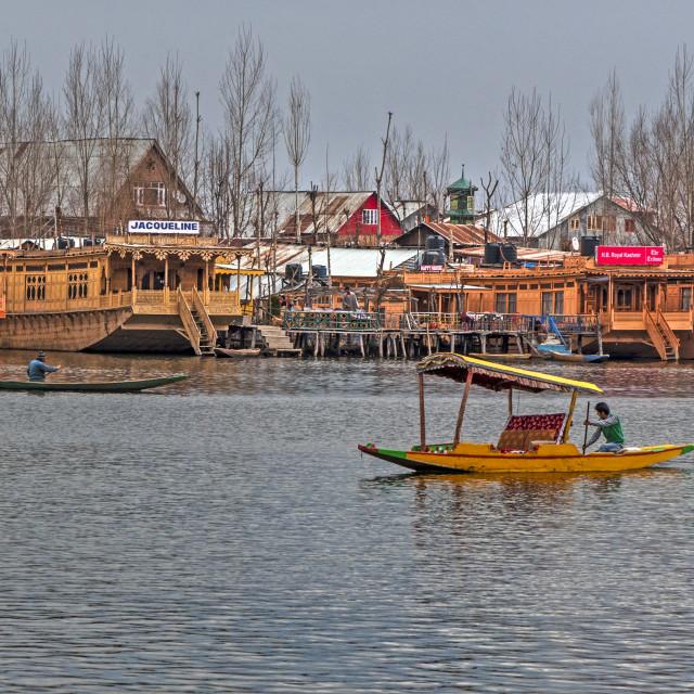"""""""House Boats at Dal Lake, Srinagar"""" stock image"""
