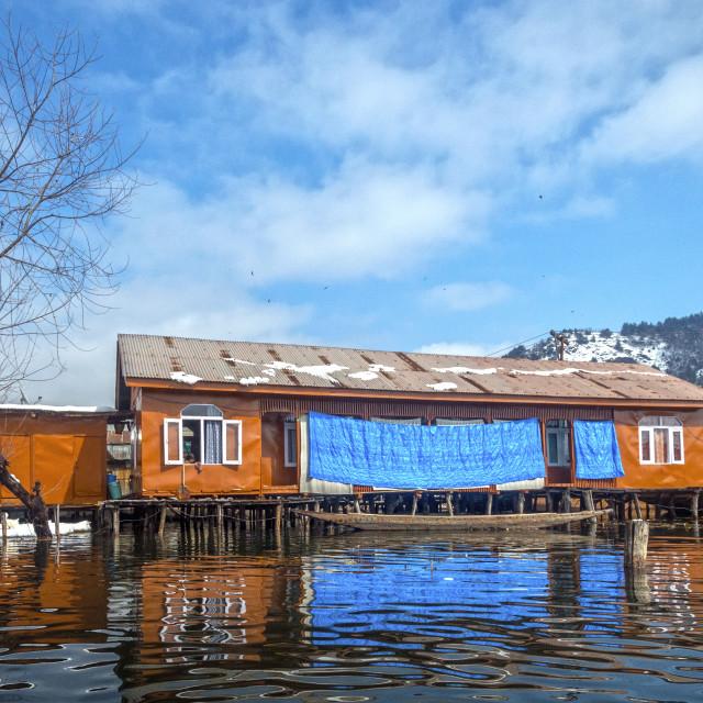 """""""A House Boat at Dal Lake, Srinagar"""" stock image"""