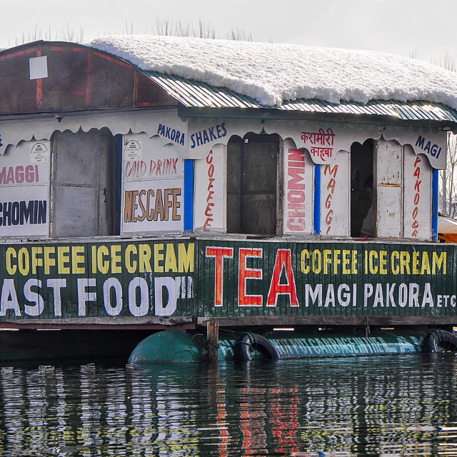 """""""A Floating Restaurant in the Dal Lake"""" stock image"""