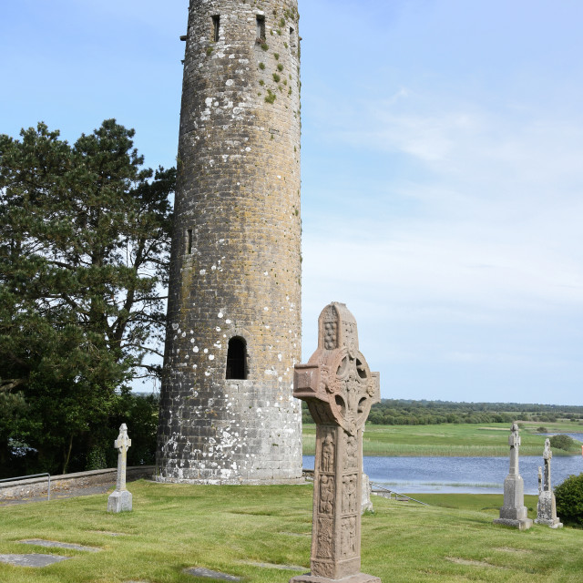 """""""Round Tower and High Cross, Clonmacnoise"""" stock image"""