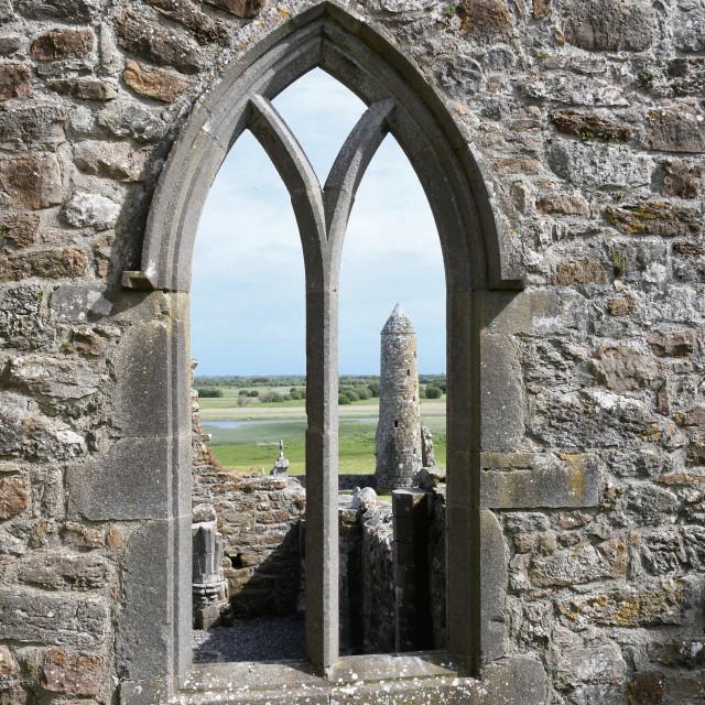 """Round Tower, Clonmacnoise"" stock image"