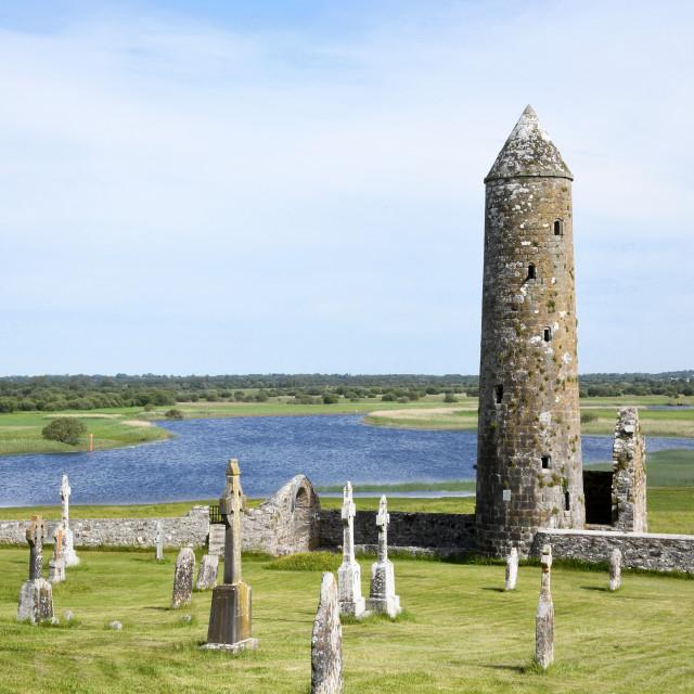 """Round Tower, Clonmacnoise Monastic Site"" stock image"