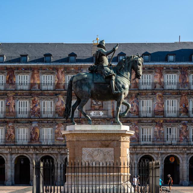 """Plaza Mayor with Felipe III equestrian statue in Madrid"" stock image"