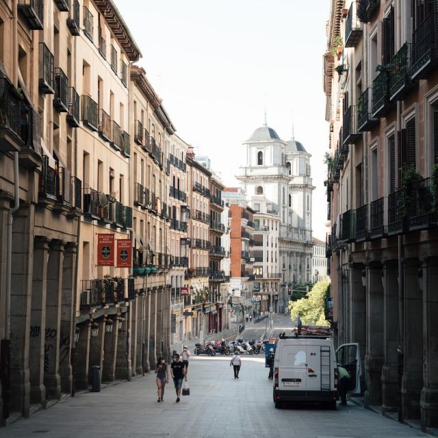 """Toledo Street near Plaza Mayor in historical city centre of Madrid"" stock image"
