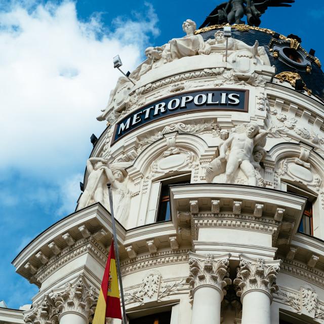 """""""Metropolis building against blue sky in Gran Via of Madrid"""" stock image"""