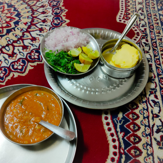 """pav bhaji with onion coriander leaves lemon and butter"" stock image"