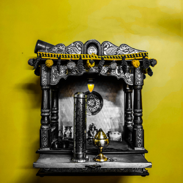 """""""small temple for house yellow wall"""" stock image"""