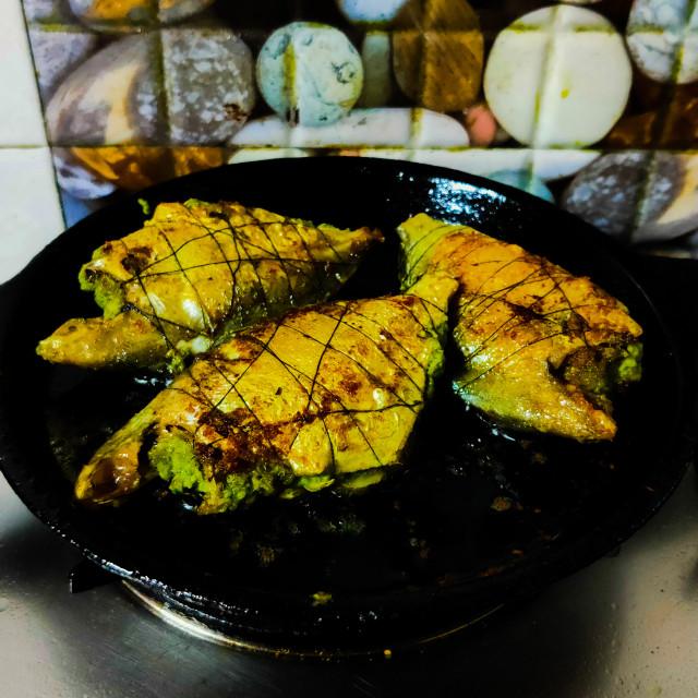 """fish fry on a pan homemade"" stock image"