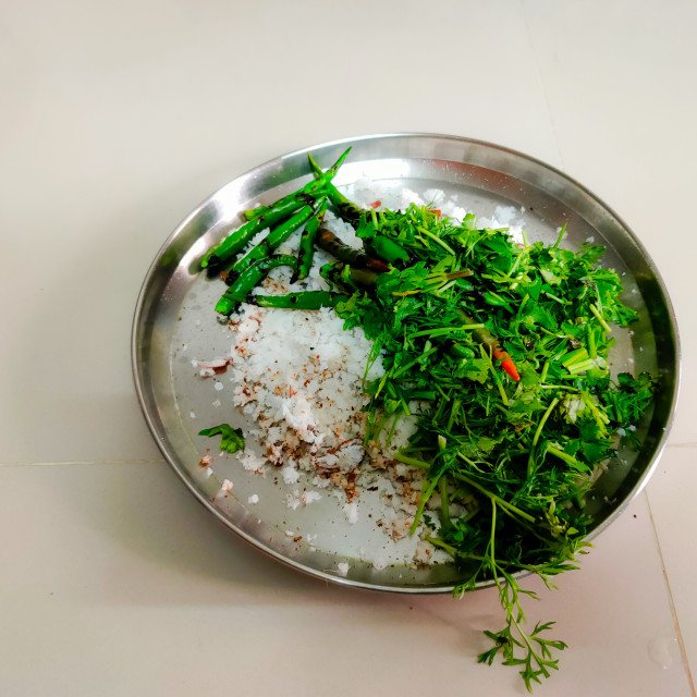 """""""grated coconut with coriander and green chillies"""" stock image"""