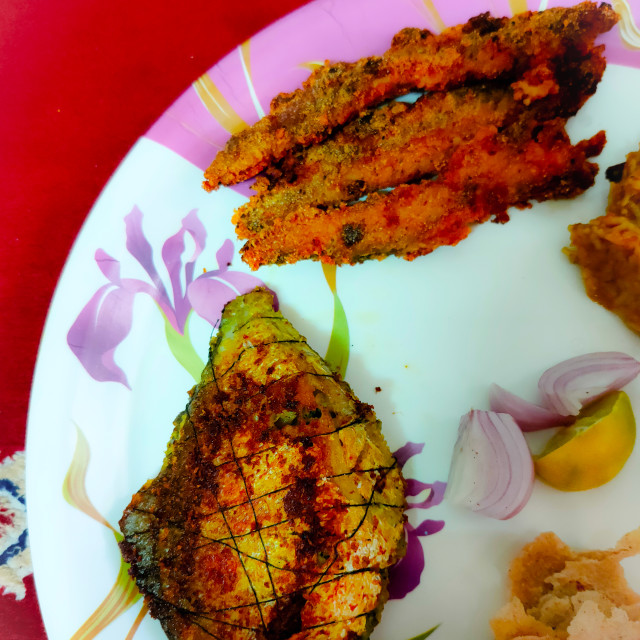 """""""fried bombay duck with pomfret and prawns biryani indian meal"""" stock image"""