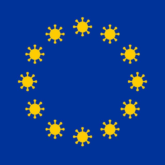 """European Union flag illustration with coronavirus signs instead of stars."" stock image"