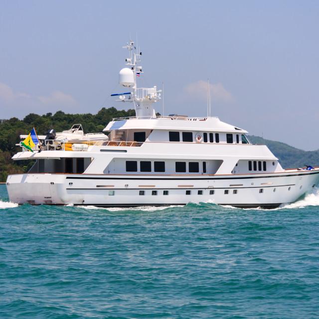 """Motor yacht underway"" stock image"