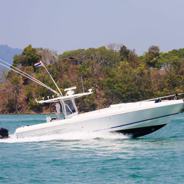 """Fast speedboat cruising"" stock image"