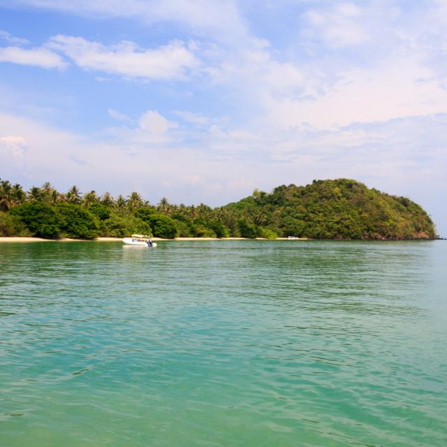 """Speedboat moored off Koh Rang"" stock image"