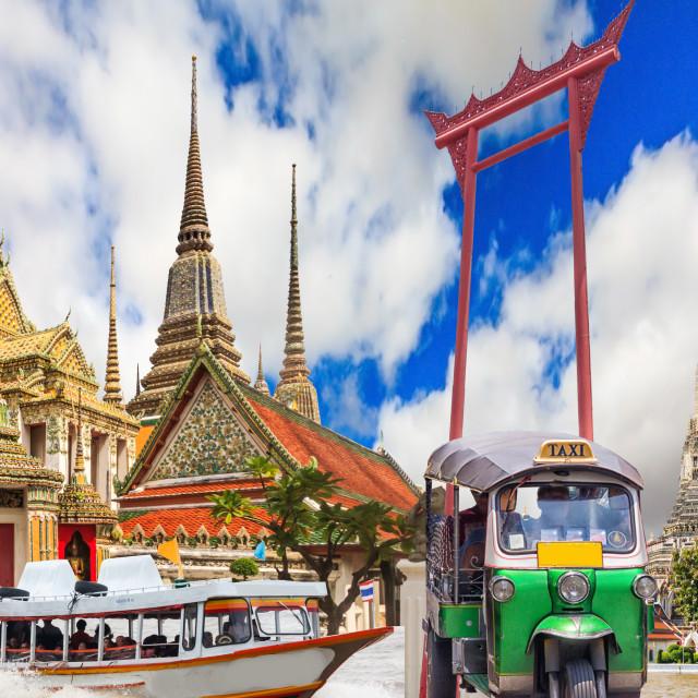 """Collage of Bangkok tourist sites"" stock image"