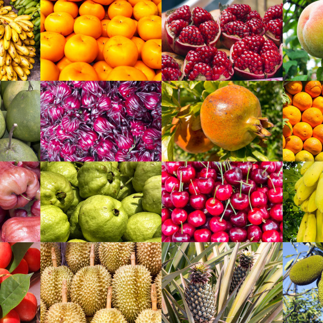 """""""Collage of tropical fruits"""" stock image"""