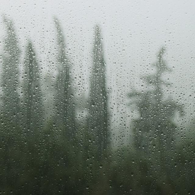 """rainy day raindrops on window"" stock image"