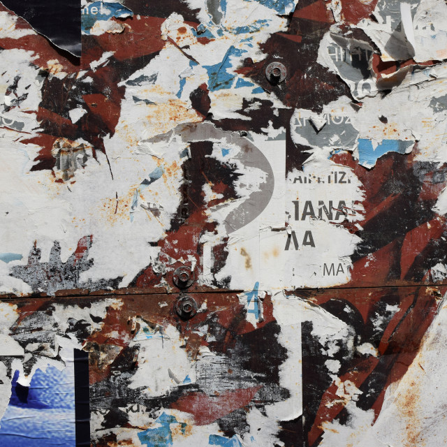 """""""rusty metal surface torn posters background"""" stock image"""