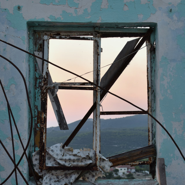 """""""rusty wires window view"""" stock image"""