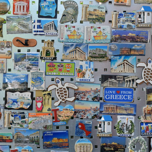 """""""souvenirs from greece at tourist gift shop"""" stock image"""