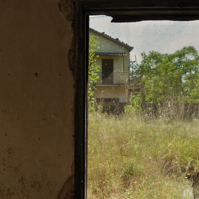 """threaded window abandoned house"" stock image"