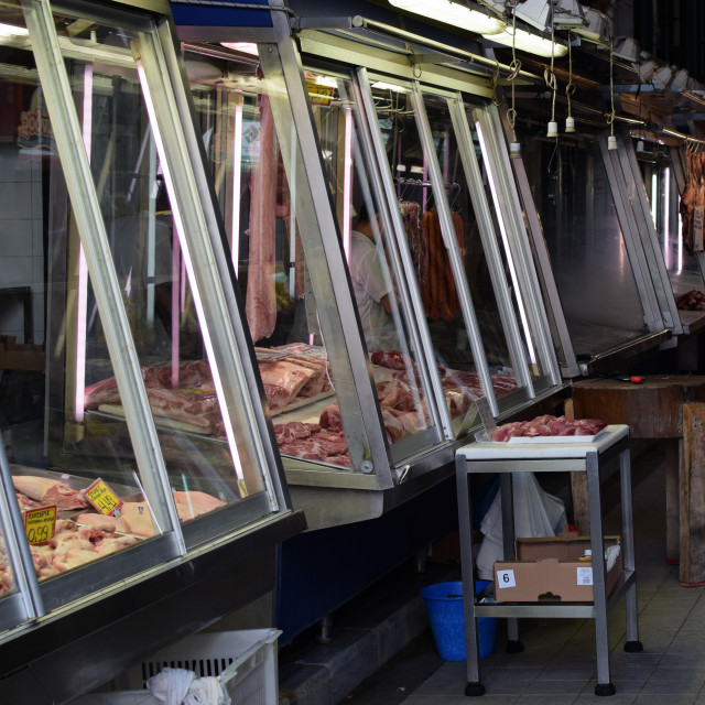 """""""vendors at meat market"""" stock image"""