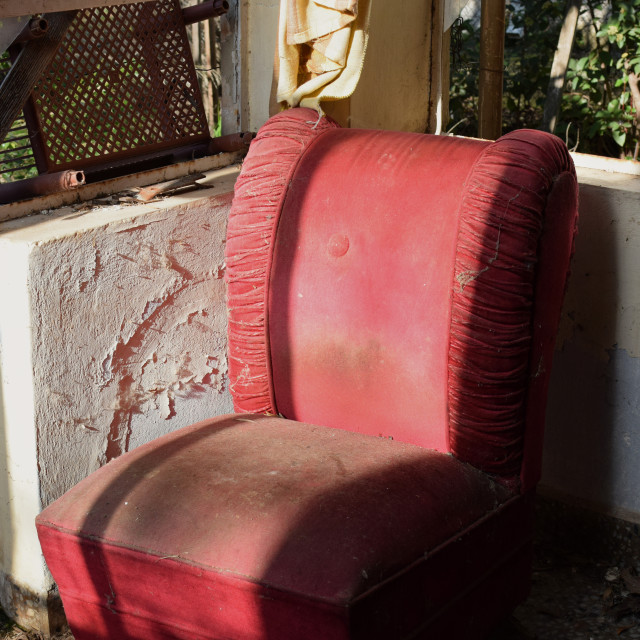 """""""vintage red armchair covered with dust and cobweb"""" stock image"""