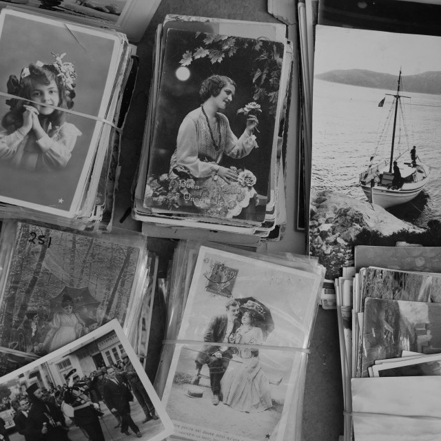 """""""collection of vintage postcards and old photographs"""" stock image"""